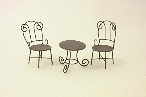 Minigarten, Sitzgruppe Gartentisch mit Stühle braun Höhe ca. 10cm