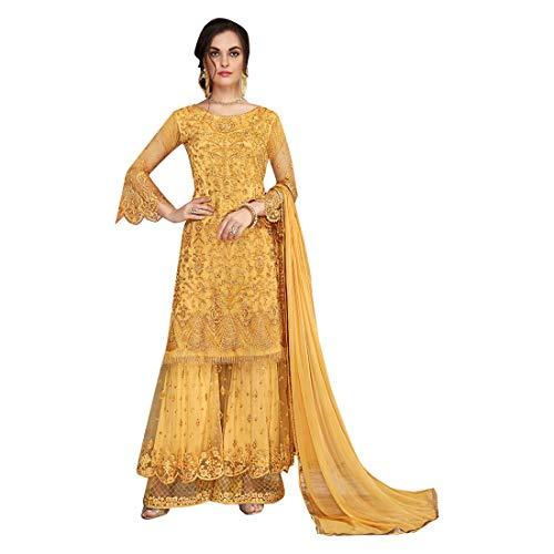 Yellow Eid Collection Indische muslimische Braut pakistanische Bollywood Anarkali Salwar Kameez bereit, Designer Boden Touch Net schwere Stickerei 7887 zu tragen Super Net Saree