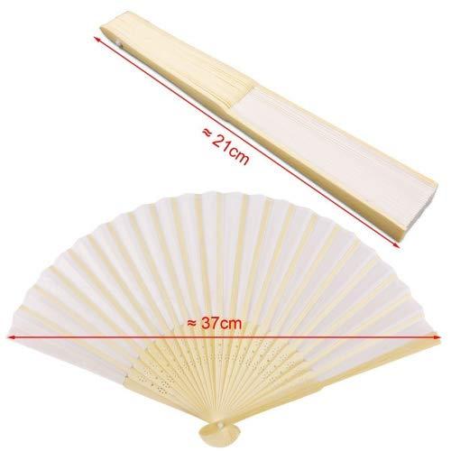 Dproptel DIY Hand Fächer Bambus Taschenfächer Papierfächer Hochzeit Zubehör & Gefälligkeiten Handventilator Faltbare Fan 10pcs (weiss)