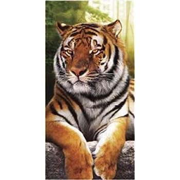 Textil THD01 Serviette de Plage 90 x 170 cm 100/% Coton Tigre Impression num/érique Photographique