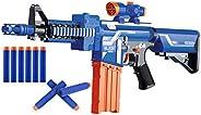 Popsugar Battery Operated Machine Gun Blaze Storm Gun with 20 Foam Bullets for Kids, Blue