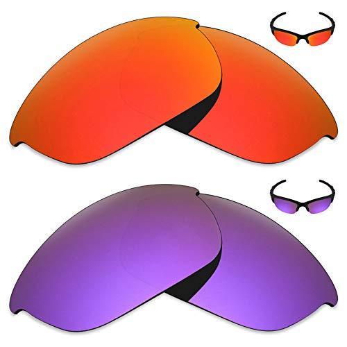 MRY 2Paar Polarisierte Ersatz Linsen für Oakley Sonnenbrille Half Jacket 2.0-Reichhaltige Option Farben, Fire Red & Plasma Purple
