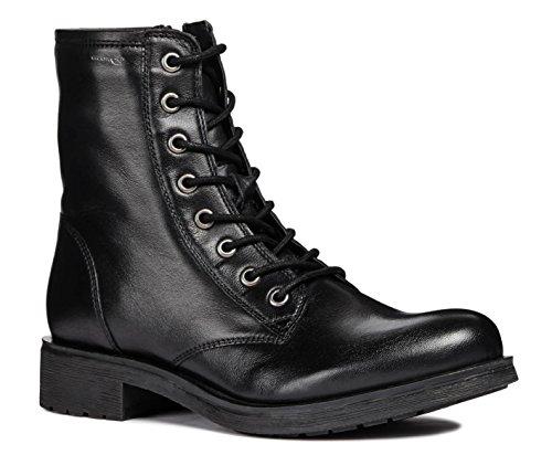 Geox D746RB Rawelle Modischer Damen Leder Stiefel, Biker Boot, Schnürstiefel, Ankle Boot,...
