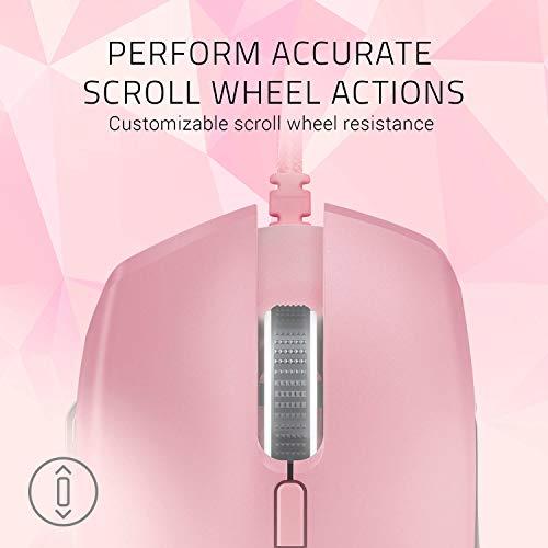 Presa DPI Rimovibile Edizione Quartz//Rosa Sensore Ottico 5G da 16 000 DPI Reali Resistenza della Rotella Personalizzabile e Razer Chroma RGB Razer Basilisk Mouse da Gaming Ergonomico per FPS