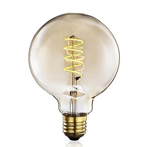 TRANSTEC® G125 Globe FLEXIBLE Glühbirne - 4 Watt Bernstein Glas Vintage Edison Home-Deco Retro Birne WarmWeiß - Weit Dimmbar - Christamas Valentine Birne - E27 Base 2200K