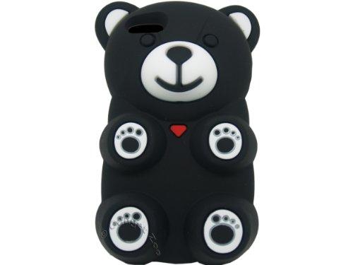Gadget Zoo Coque en silicone pour iPhone 5/5S Motif ourson 3D blanc - blanc noir - noir