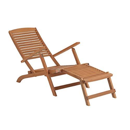 Somerset Outdoor-möbel (BUTLERS Weekender Klappbarer Liegestuhl mit Fußteil - Braune Sonnenliege aus FSC-Akazienholz - Gartenliege, Holzliege)
