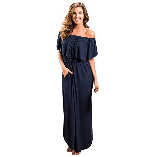 r Schulterfrei Rüschen Abendkleid Maxikleid Cocktailkleid Side Split Lange Sexy Einfarbig Kleid ()