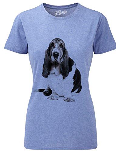 Basset-hound-shirt (Siviwonder Women T-Shirt Basset Hound Hunde blue marl S)