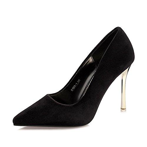 Dimaol Chaussures Femme Automne En Similicuir Talons Confort Stiletto Talon Pointe À Robe Bordeaux Rose Clair Violet Vert Noir Noir