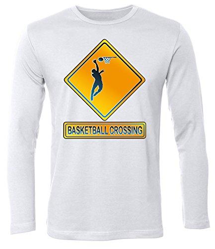 BASKETBALL CROSSING Uomo manica Lunga Maglietta Taglia S to XXL vari colori bianco / nero