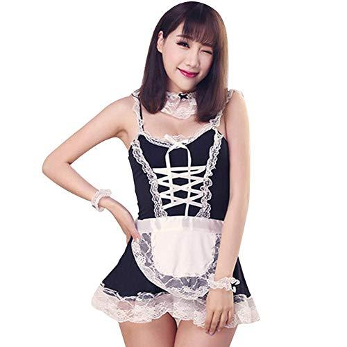 Sexy Dessous Dienstmädchen niedlich Lace French Maid Uniform Versuchung Anzug Nachtclub Job Student Rollenspiel Sexy Cosplay Kostüm Durchsicht plus Größe Dessous