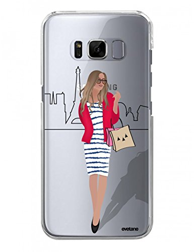 Evetane Coque Compatible avec Samsung Galaxy S8 Plus Transparente Rigide Solide Silhouette A Paris Ecriture Motif Tendance