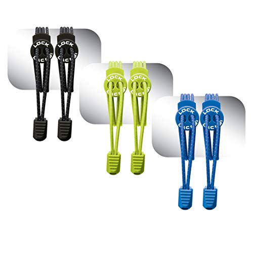 LOCK LACES (Elastic No Tie Shoe Laces) (Pack of 3) (Black-Green-Blue)