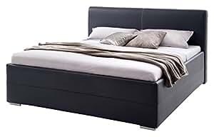 sette notti polsterbett bett 140x200 schwarz boxspringbett optik kunstleder bett liegefl che. Black Bedroom Furniture Sets. Home Design Ideas