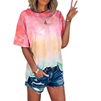 DUe Women's Short Sleeve Casual Tie Dye Print T-Shirt Loose Blouse Tops Wine Red XL