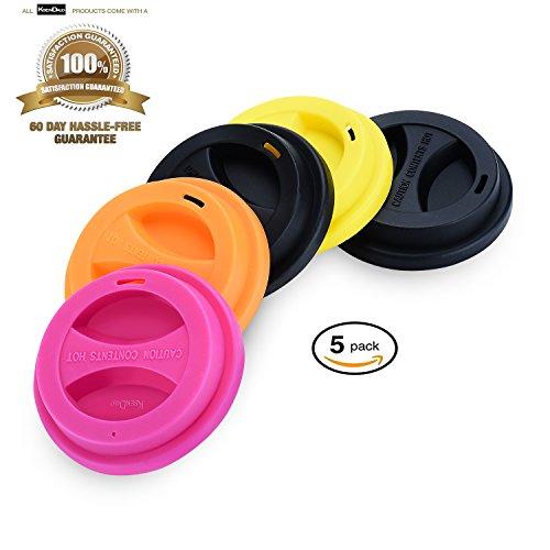5 / - Paket wiederverwendbar Trinken Kaffee/Tee Silikon Cup Deckel by ksendalo, Tasse, Deckel, Auslaufsicher Deckel, Farbe mischen
