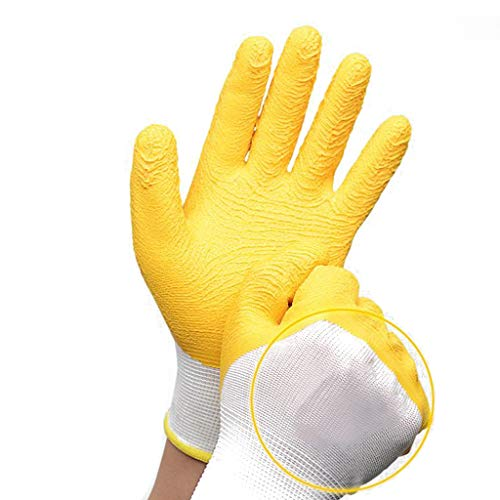 YXRZBH Industrielle Handschuhe Comfort Coated Arbeitshandschuhe, Verschleißfest, rutschfest, Gelb, 12 Paar Pro Packung,