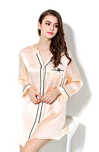 Tulpen Damen 100% Maulbeerseide Nachthemd Klassische Pyjamas Hellorange