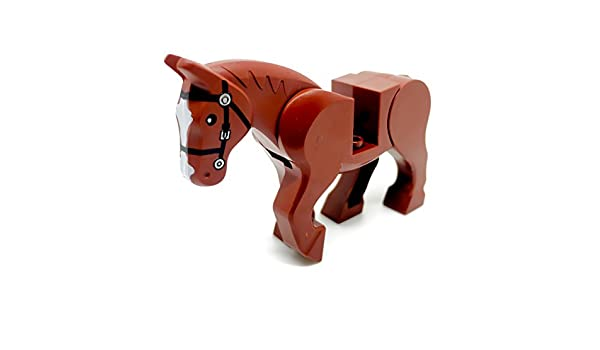 LEGO Minifig Animal White Horse with Brown Bridle Pattern