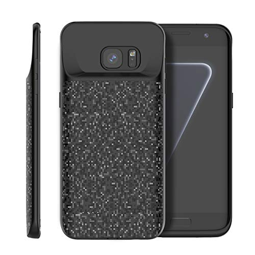 BasicStock Samsung Galaxy S7 Edge Akku Hülle, 5000mAh Akkucase Externe Batterie Akkuhülle Backup Powerbank Schutzhülle Ladegerät Battery Case für Samsung Galaxy S7 Edge (Schwarz)