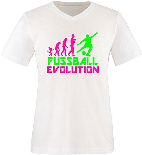 EZYshirt® Fussball Evolution Herren V-Neck T-Shirt Weiss/Pink/Neongr