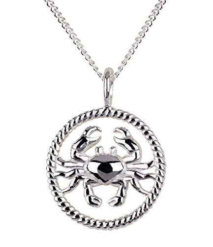 SIX Damen Halskette, Gliederkette, Sterling Silber, 925er Silber, Gliederkette, Horoskop, Sternzeichen, Krebs, silber (386-269)