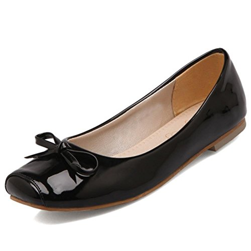 COOLCEPT Damen Slip-on Flach Bequeme Gilrs Ballerinas Pumps mit Bogen Extra Sizes Schwarz
