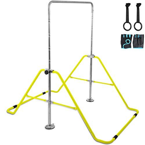 Hopopula Gymnastikstange Horizontale Stange Anpassen Faltbare Ablage Kip Stange Multifunktions Erweiterbare Junior Trainingsstange für Kindern Heimtraining(Gelb)