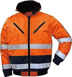 "4 in 1 Warnschutz-Pilotenjacke""THOSA"", Grösse L, abnehmbare Ärmel, herausnehmbares Fell, wasserdicht, orange"