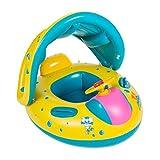 COSORO 6-18 meses bebé flotador de seguridad bebé niños hinchable natación agua flotador anillo de natación con toldo ajustable parasol, parasol, protección UV (amarillo y azul)