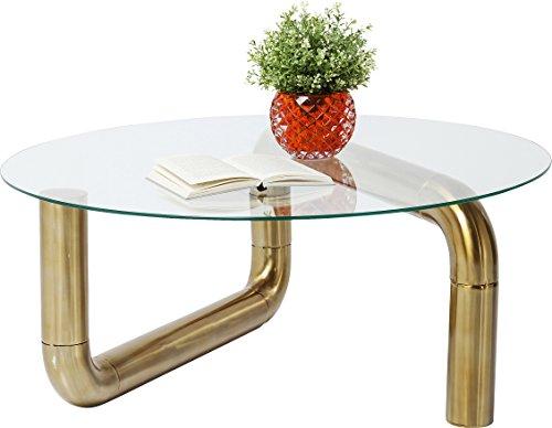 Kare design - Table basse plateau rond et pieds couleur or Pipeline