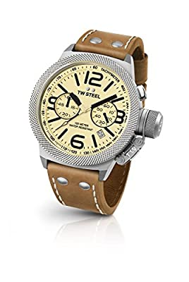 TW Steel Canteen Leather Unisex Quartz Watch with Yellow Dial Analogue Display and Brown Leather Strap