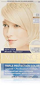 L'Oreal Paris Crème colorante Excellence Crème - Triple protection - Enrichie en Pro-Kératine - Couleur 01 - Blond ultra-clair cendré