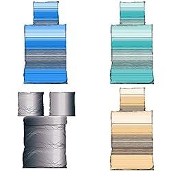 Bettwäsche 135x200 cm Microfaser in 4 Designs, 2x 135x200 2x 80x80, Stringway blau
