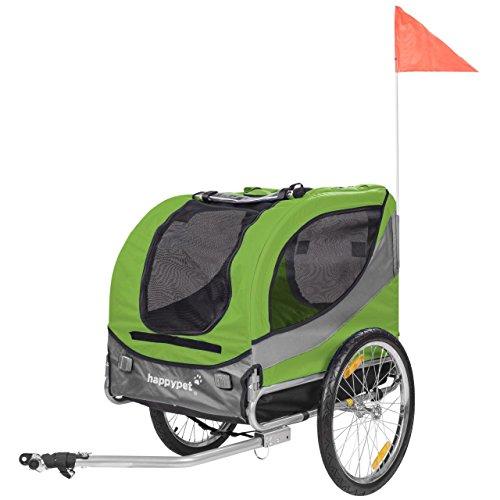 HAPPYPET Fahrrad-Anhänger für Hunde M Hundeanhänger Hundefahrradanhänger Hundetransporter Regenschutz inkl. Anhängerkupplung Regenschutz LEAVE GRÜN (Hund Fahrrad Anhänger)