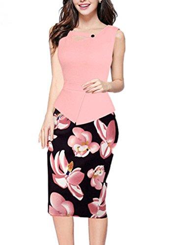 Chez BoBos Femmes Robe Crayon Vintage Floral Imprimée Tailleur Robe de Bureau Rose