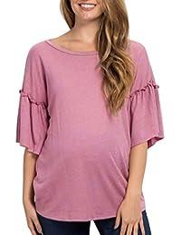 e35b3791e Gusspower Mujer Blusa Mangas Corta Estampado Ropa premamá Camiseta de Huella  para la Maternidad Huellas del ...