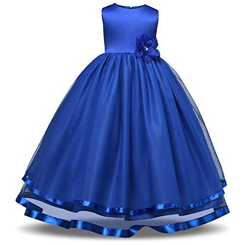 Dark Princess Mädchen Kostüm - Chengzuoqing Prinzessin Kleider Mädchen Brautjungfer Kleid Party Prom Geburtstag Kleid Kinder Kleidung Spitzenkleid Alter 3-9 Jahre Kleine Mädchen Kostüm (Color : Dark Blue, Size : 160 cm)