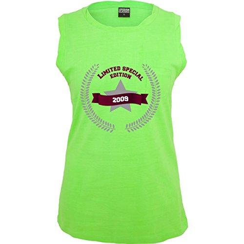 Geburtstag - 2009 Limited Special Edition - ärmelloses Damen T-Shirt mit  Brusttasche Neon Grün