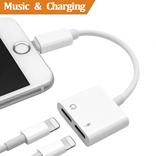 Price comparison product image Lightning Adapter, adapter for iphone 7 / 7Plus iPhone 8 / 8Plus iPhone X iPod / iPad.Lightning Adapter for iphone 7 headphones Connector.Earphone Adapter Headphone Aux Audio & Charge Adaptor, Connector Lightning Cable [Audio+Charge+Call+Volume Control ]. Support iOS 11.2 and Later.