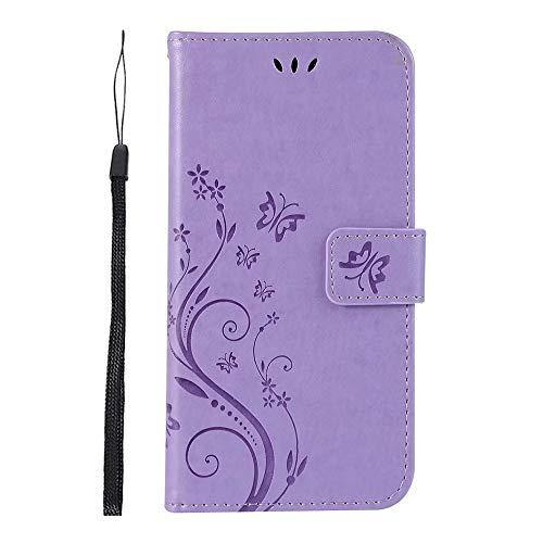LAGUI Hülle Geeignet für LG K8 2018, Schönes Schmetterlingen und Blumenranken Brieftasche Handyhülle, Mit Kartenfächern und Magnetische Verschluss und Standfunktion, Anti-Scratch, stoßfeste, lila -