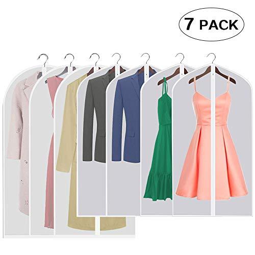 Kleidersack,Hochwertiger Kleidersäcke,Transparent,7er-Pack,für Anzüge Kleider Mäntel Sakkos Hemden Abendkleider Anzugsack Aufbewahrung,4 STK. 40 x 24 Zoll und 3 STK. 47 x 24 Zoll