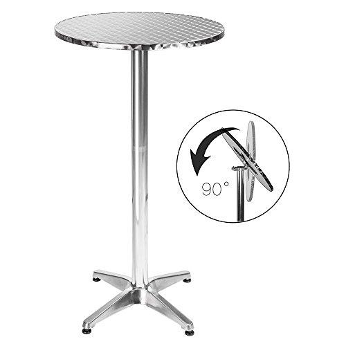 BAKAJI Tavolino Alluminio per Esterno Pieghevole 60 x 70/110 Regolabile Altezza Tavolo Bistrot Ripiano Top Acciaio Inox Rotondo per Bar Casa Giardino