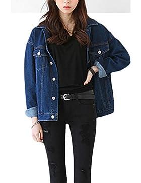 Las Mujeres De Un Solo Pecho Abrigo Chaqueta Jeans Denim Camionero