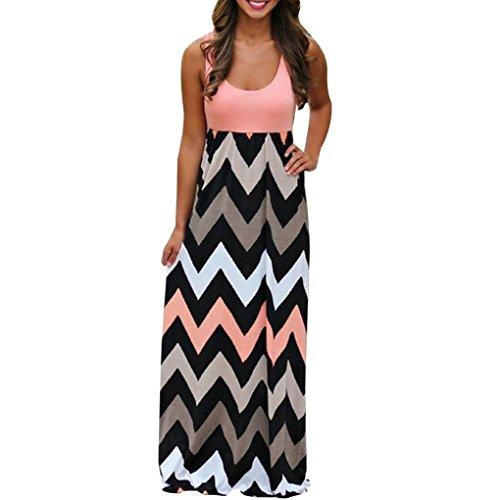 Plissee Short Sleeve Tee (YunYoud Damen Gestreift Lange Boho Kleid Dame Strand Sommer Sundress Maxi Kleid Übergröße (XXXL, Orange))