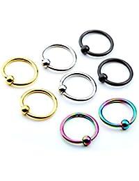 PiercingJ 8pcs 6-12mm Stainless Steel Captive Bead Ring CBR Hoop Helix Tragus Ear Lobe Earring Nose Ring