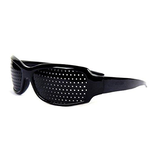 Gearmax Gearmax® Lochbrille/Rasterbrille zum Augentraining und zur Entspannung, Gitterbrille mit klappbaren (Schwarz)