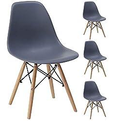 Gr8 Home 4 Retro Eames Inspiriert Sessel Set Plastik Holz Modern Büro Esszimmer Wohnzimmer Tisch Lounge Panton Eiffel Sitz Vintage Hohe Rückenlehne Stuhl - grau