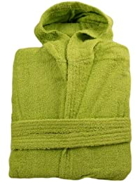 Green 100% Cotton Terry Towelling Hooded Bathrobe + Matching Belt - Medium